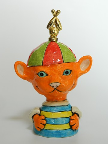 Orange Cat Lidded Jar