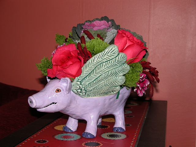 Winged Pig Bowl (with floral arrangement)