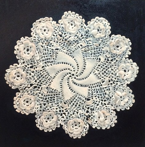 Doily with Midnight Blue