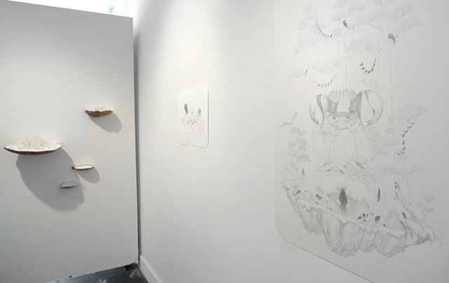 Installation view of 'Island Biogeography,' 'Caves' & 'The Old Magic'