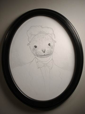 Drawing of a man from the 1950's wearing a mask of an extinct Japanese Sea Lion by Jenny Kendler