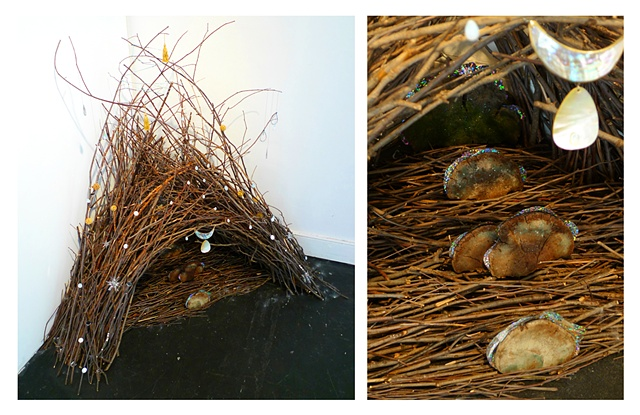 Installation based on the bower of a Satin Bowerbird by environmental artist Jenny Kendler