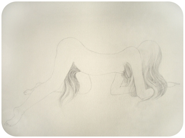 Drawing of a woman with a pubic mane crawling on the ground by Jenny Kendler