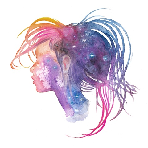 Painting of a woman's head, silhouette, profile filled with a nebula full of stars - environmental art, comment on nature's link between humanity and the cosmic
