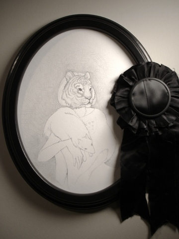 Drawing of a woman from 1937 wearing a mask of an extinct Bali Tiger by Jenny Kendler