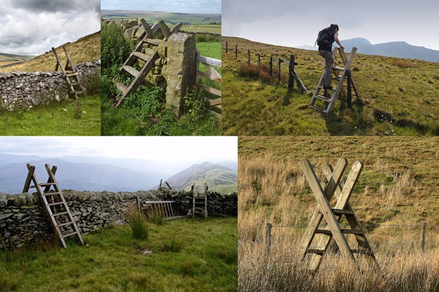 Traditional stiles, built to allow humans to cross a pasture's fence