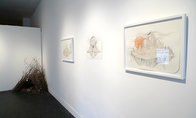 Installation view of 'My Bower I,' 'Desert Solitaire,' 'Terra Incognita,' & 'Climate Change'