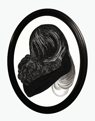Painting of a silhouette of a woman cradling her own hair like an animal by Jenny Kendler