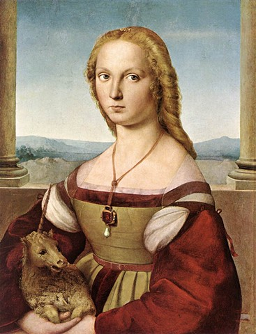"""Lady with a Unicorn,"" also known as ""Portrait of a Lady with a Unicorn"" or ""Young Woman with Unicorn"" by Raphael"