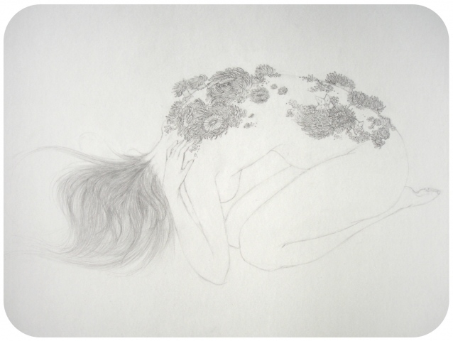 Drawing of a woman with sea anemones and starfish on her back, like a tide pool by Jenny Kendler