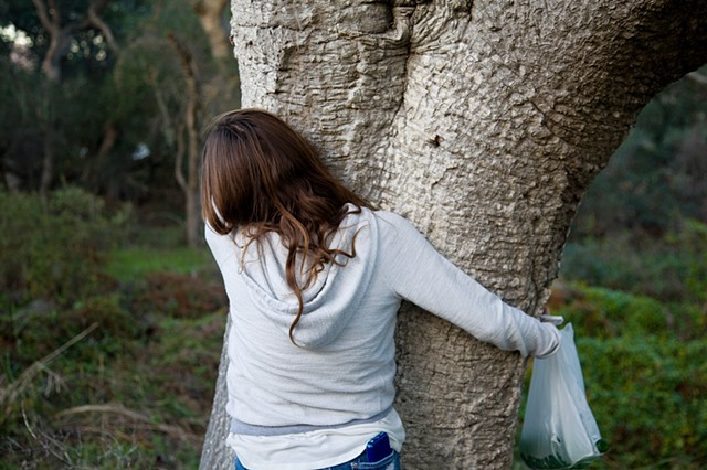 Pictures I Made While Walking in the Woods (Alex hugging a live oak tree while mushroom foraging, Los Osos)