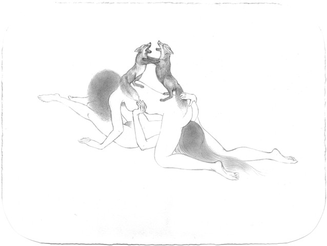 Drawing of two women making love with Red Foxes fighting by Jenny Kendler
