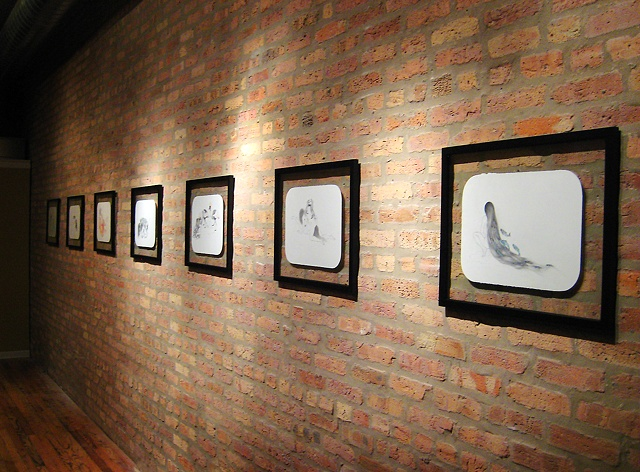 Photo of Jenny Kender's solo show, Cohabit, at the COOP - showing her drawings on the wall