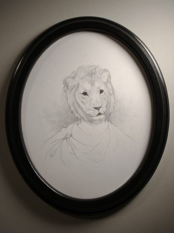 Drawing of a man from 100 AD wearing a mask of an extinct European Lion by Jenny Kendler