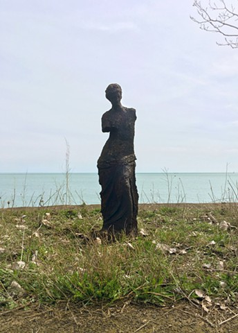 Venus IV installed on a found 'plinth' at the edge of Lake Michigan at Steelworkers Park
