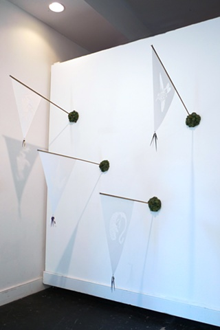 Installation view of 'Extinction Pennants (Bogota Sunangel - Extinct 1909, Ilin Island Cloudrunner - Extinct 1953, Passenger Pigeon - Extinct 1914, Golden Toad - Extinct 1989)'
