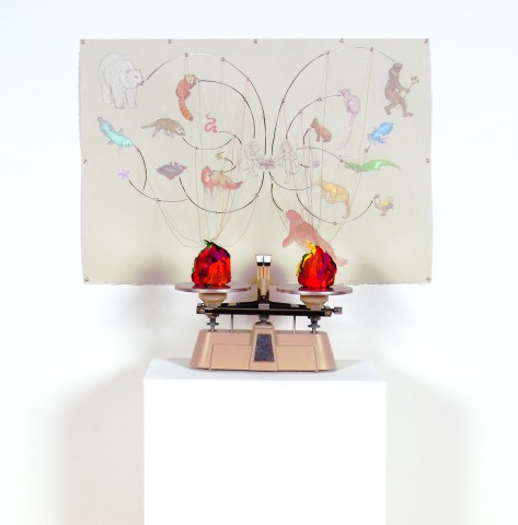 Painting / Sculpture of a scientific beam balance attached to a schematic drawing of organisms and species by Jenny Kendler
