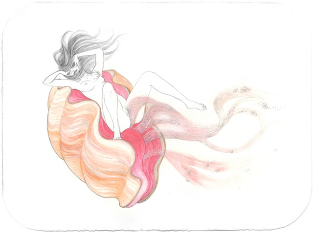 Drawing / Painting of a woman in a giant clam releasing eggs by Jenny Kendler