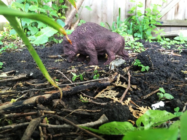 Adopted biodegradable bison in the garden of Noah Hanna