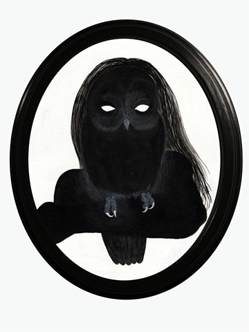 Painting of a silhouette of a woman holding an owl on her wrist and looking through its eyes by Jenny Kendler