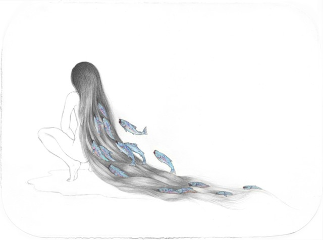 Drawing / Painting of a woman with salmon swimming in her hair like water by Jenny Kendler