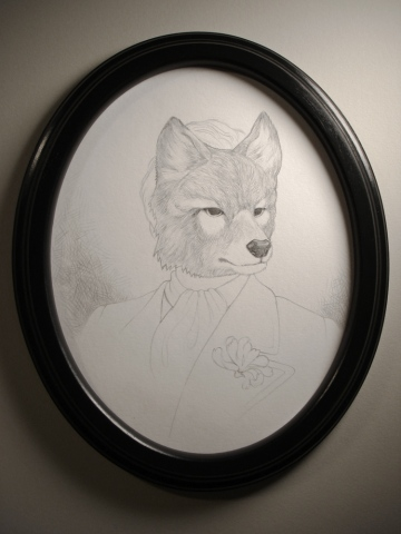 Drawing of a man from 1899 wearing a mask of an extinct Hokkaido Wolf by Jenny Kendler