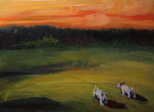 Landscape with 2 Sealyham terriers,  oil on canvas