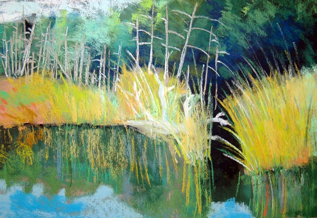 Pastel painting of tall grass on the islands in lac Jeannie