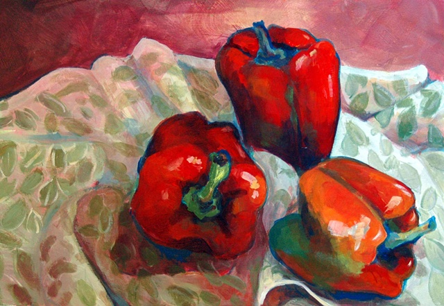 Still life with peppers, acrylic on paper.