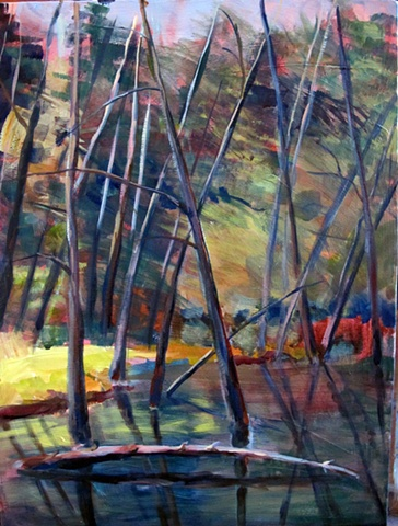 Acrylic landscape of lac Jeannie