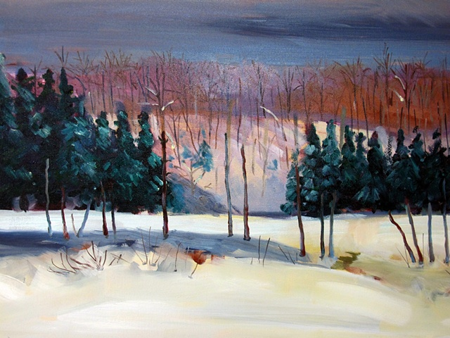 Oil painting of lac JEannie in the snow