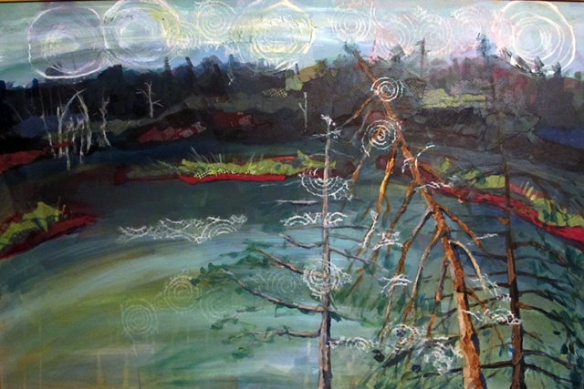 Landscape of Lac Jeannie, acrylic and cllage on canvas