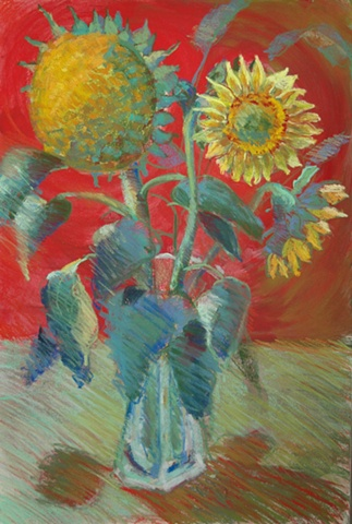 pastel painting of sunflowers.
