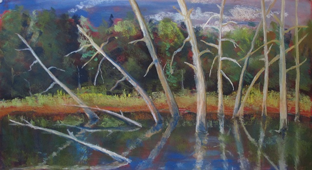 Pastel painting of lac Jeannie