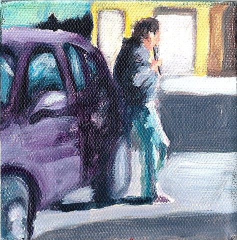 January 5  Woman spontaneously playing flute beside her car, waiting for a pizza