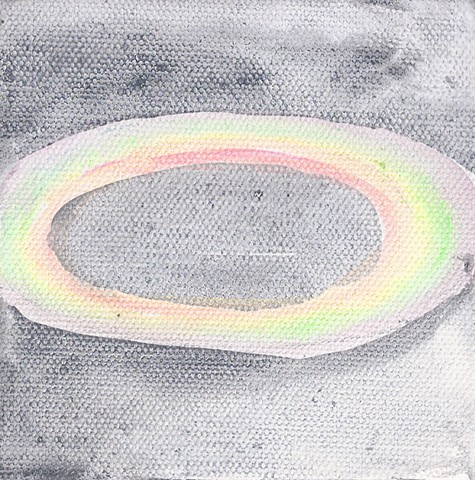 February 6  Rainbow chalk circle on the asphalt