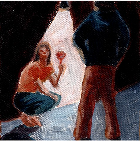 February 24  A couple takes their domestic dispute outside, with a glass of wine.
