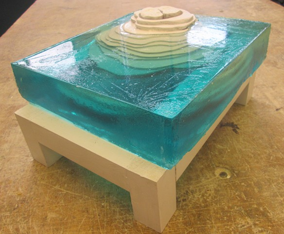 Resin casting with embedded wood pieces