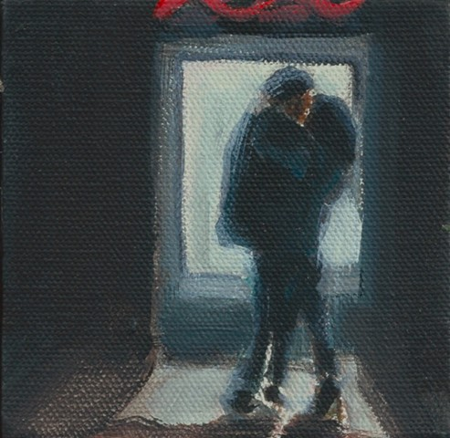 May 7 I've been wanting to paint this for awhile - a couple kissing in front of a glowing Muni bus stop at night.   They were too engaged to notice me.
