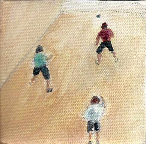 April 3 Bird's eye view of handball players.Why does nobody under 60 play this agame anymore?
