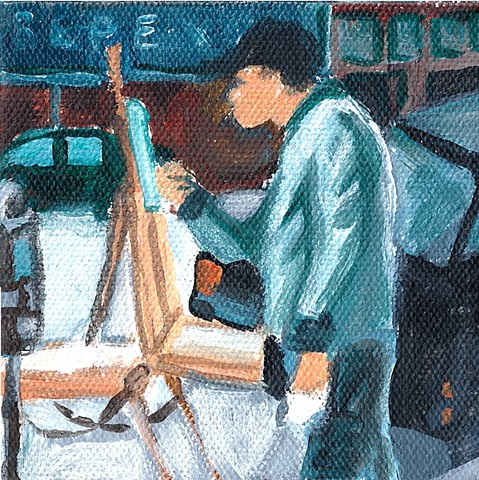 January 12  Man painting street scene on street.  He was annoyed when I took his photo.