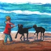 Boy and Dogs at the Beach