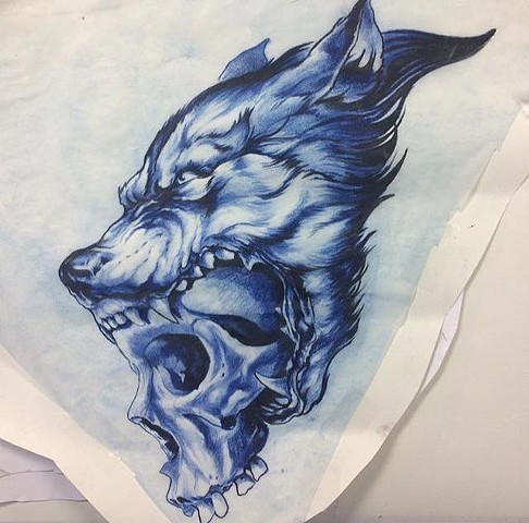 wolf skull reference for tattoo
