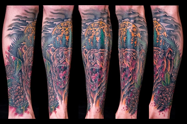 Blood thirsty bear forest full moon color leg sleeve tattoo