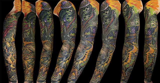 guitar playing skeleton sleeve