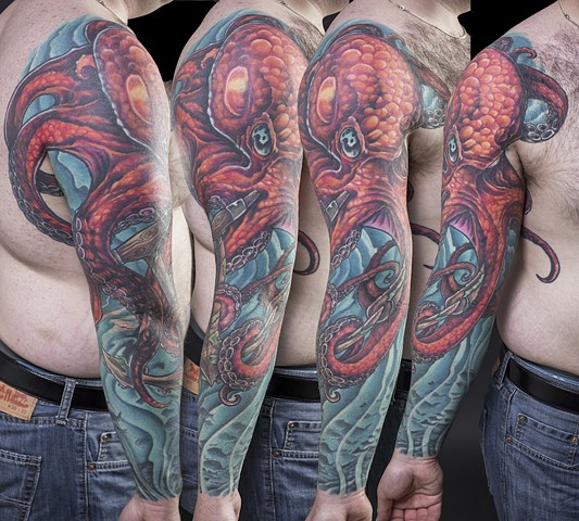octopus in the ocean full sleeve colour tattoo