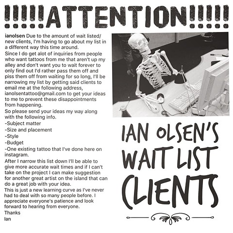 Attention Ian's Wait listed Clients!
