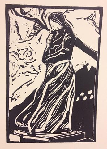 """Camilla Collett statue """"I storm"""""""