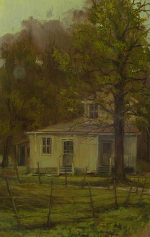 Oil Painting by Debra Payne of Farm House near Augusta Missouri adjacent to the Missouri River