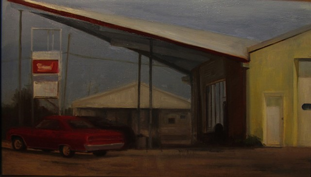 Old gas station newton kansas bethel college roof red car